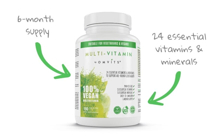 omvits multivitamin contains 24 essential nutrients with a full 6-month supply
