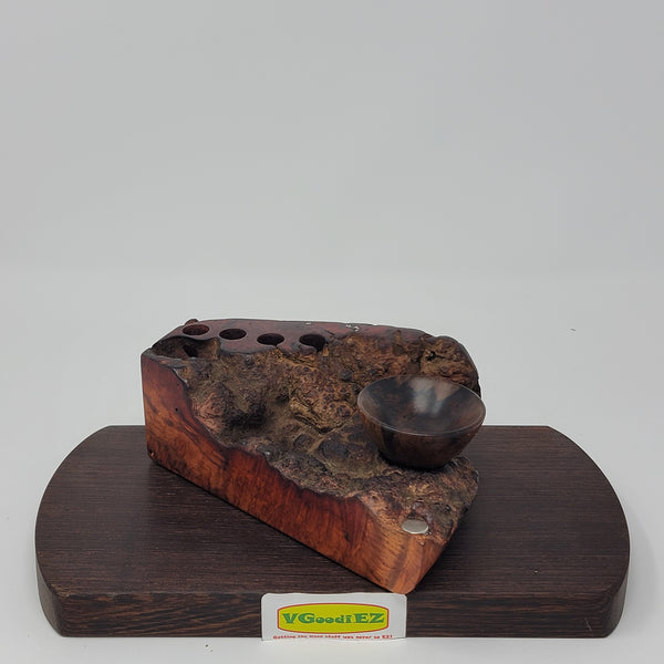 Dynavap stand in Amboyna Burl with Ebony ABV Bowl by Aezhenn Wood