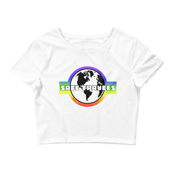 'Safe Travels' Rainbow Logo Crop Tee