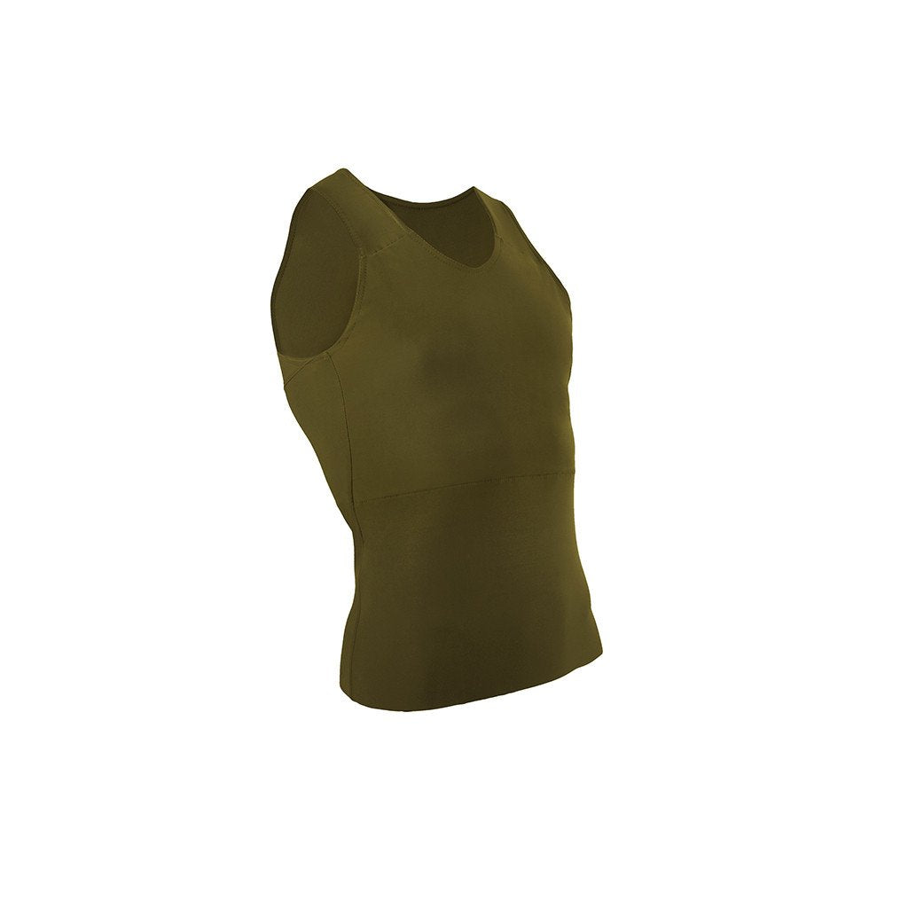 Front view of an olive green tank binder.