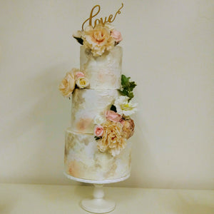3 tier textured buttercream wedding cake coral blush white flowers pearl detail