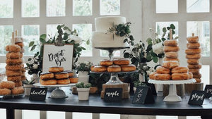 Wedding Cake table styled with wedding doughnuts in Anglesey, north wales