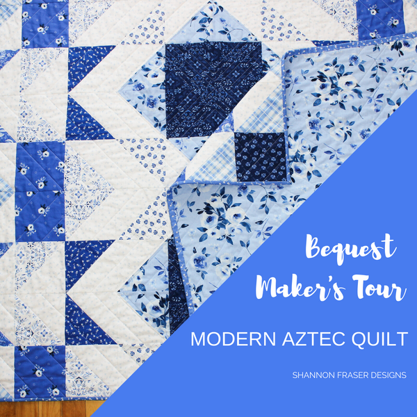 Modern Aztec Quilt Blue and White Version | Briar Hill Designs' Bequest Maker's Tour