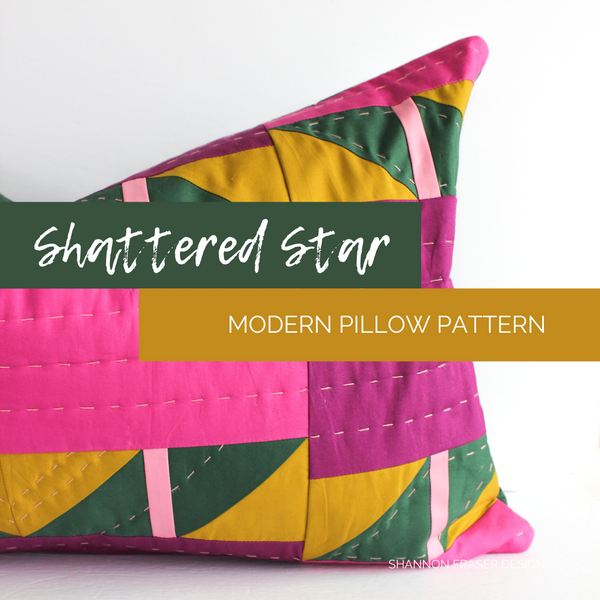 Shattered Star Lumbar Pillow | Hand quilted with a metal zipper