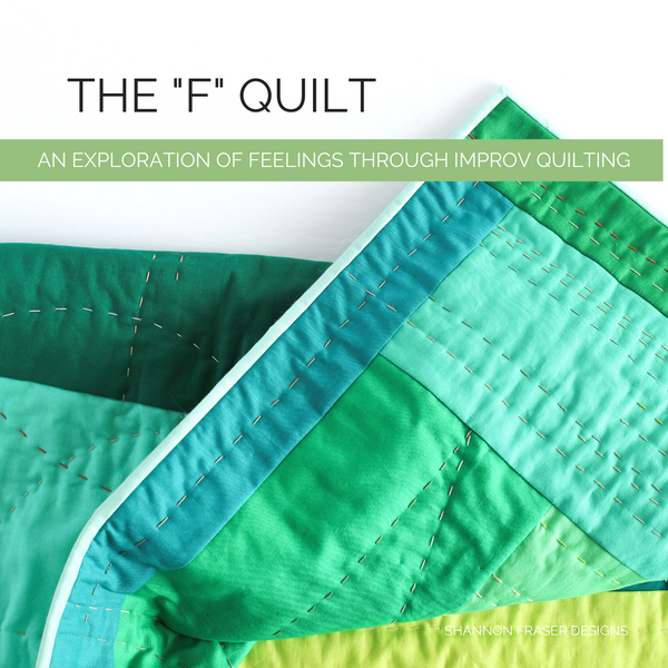 "The ""F"" Quilt – A Modern Improv Log Cabin"