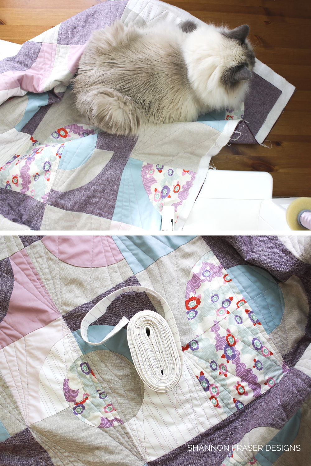 White ragdoll cat on lilac and purple Ecliptic quilt in the process of being machine quilted | 2020 Mid-Year Goals Check-in | Shannon Fraser Designs #catsonquilts