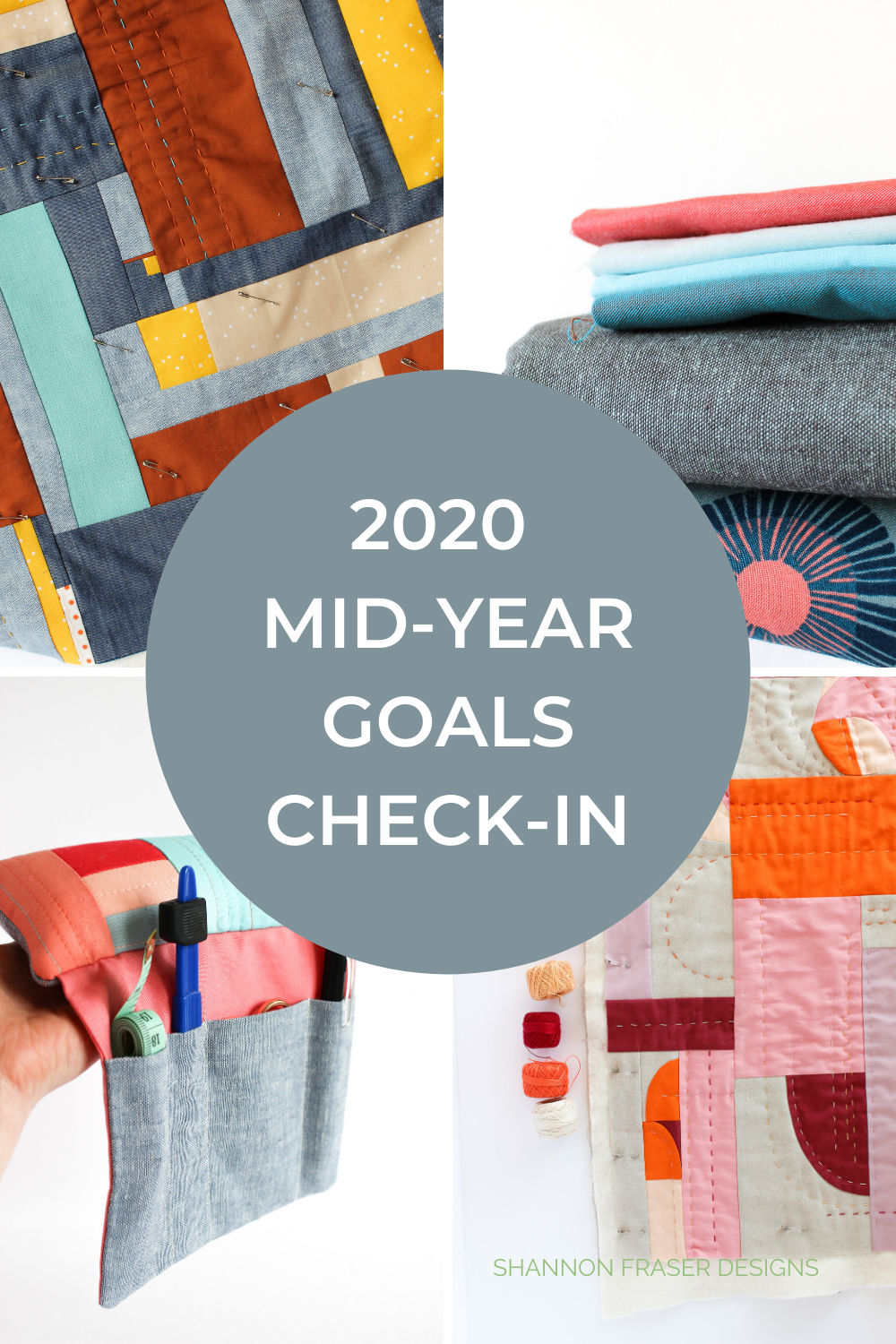 Round-up of modern improv quilt projects + DIY pincushion | 2020 mid-year goals check-in | Shannon Fraser Designs #modernquilts
