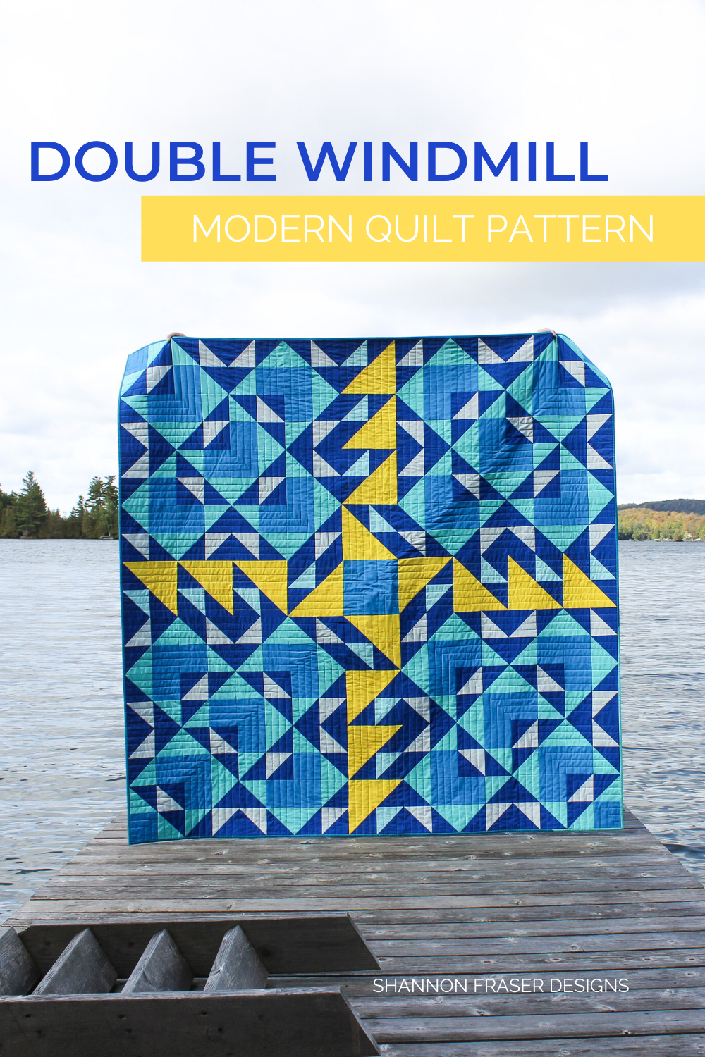 Blue and Yellow Double Windmill quilt on the dock
