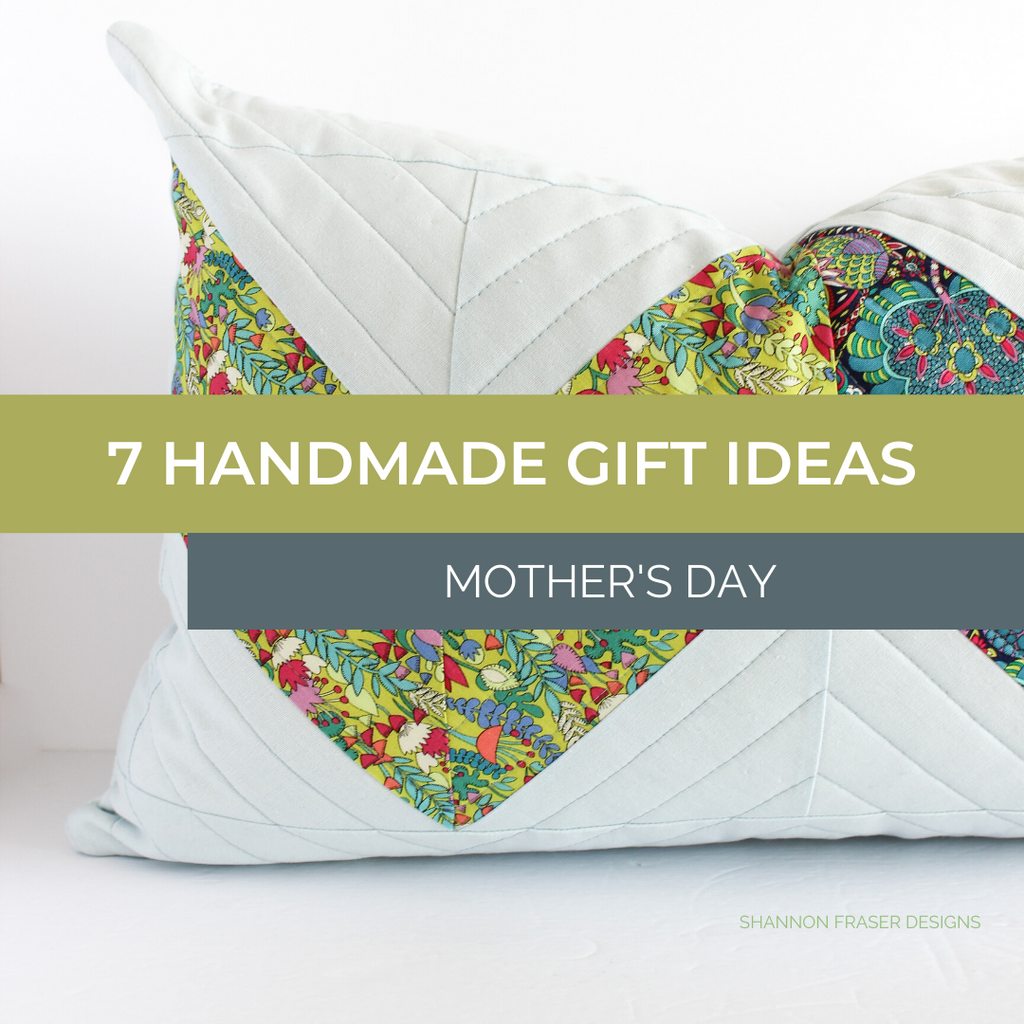 Double Chevron quilted pillow in light blue with chartreuse and navy floral | 7 Handmade Gift Ideas for Mother's Day | Shannon Fraser Designs