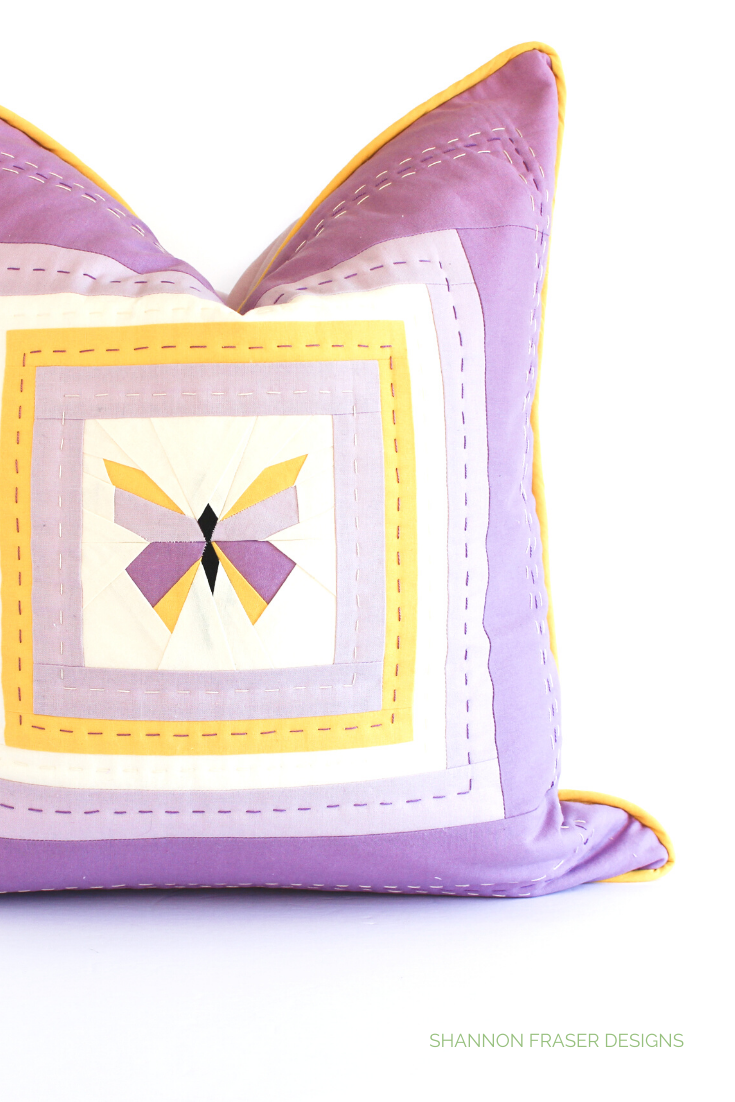 Hand quilted purple and yellow butterfly pillow | 7 handmade gift ideas for Mother's Day | Shannon Fraser Designs