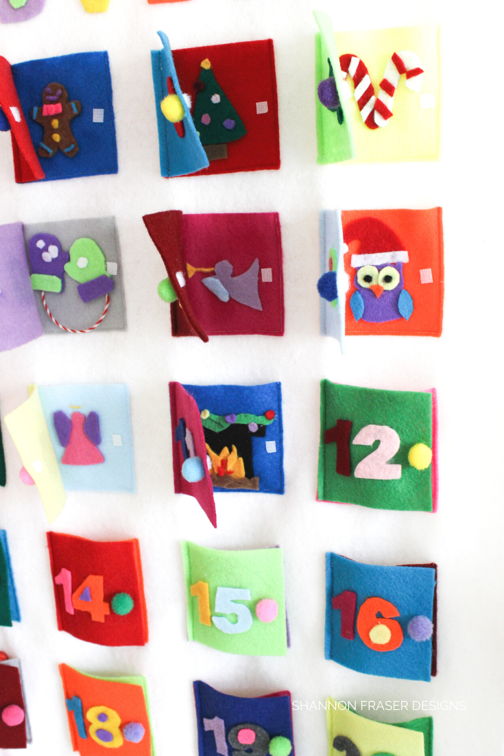 Close up of open doors on handmade Advent Calendar | Shannon Fraser Designs