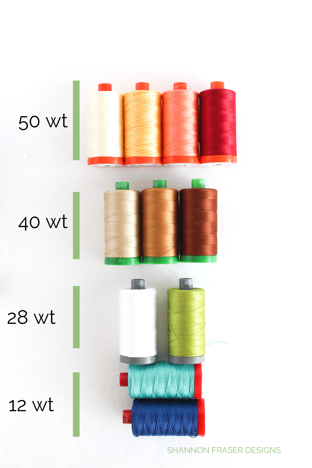 2020 Aurifil Artisan thread collection laid out by thread weight | Shannon Fraser Designs #thread