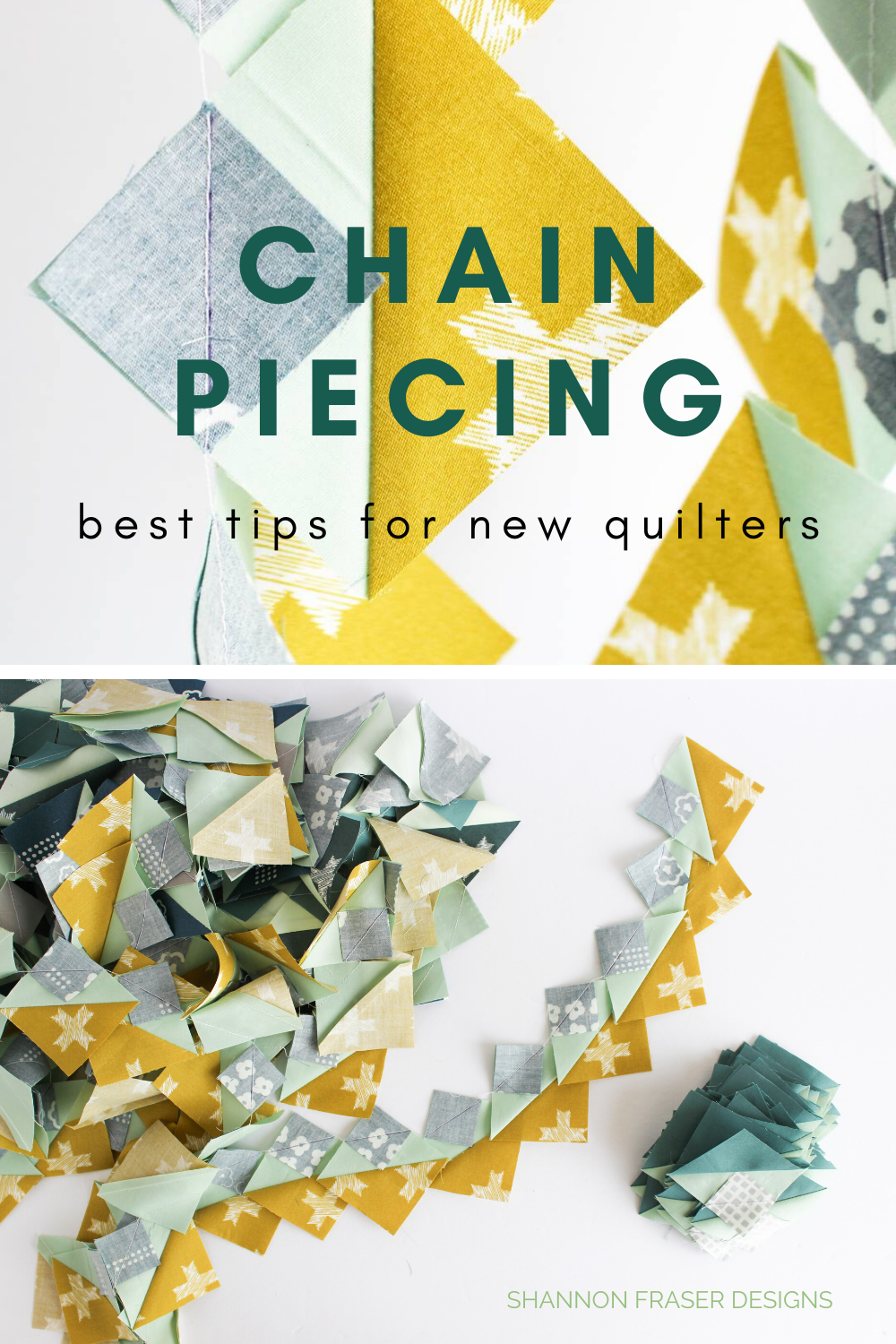 Half Square Triangles all attached after being chain pieced | Best Tips for New Quilters | What I wish I knew when I started quilting | Shannon Fraser Designs #chainpiecing