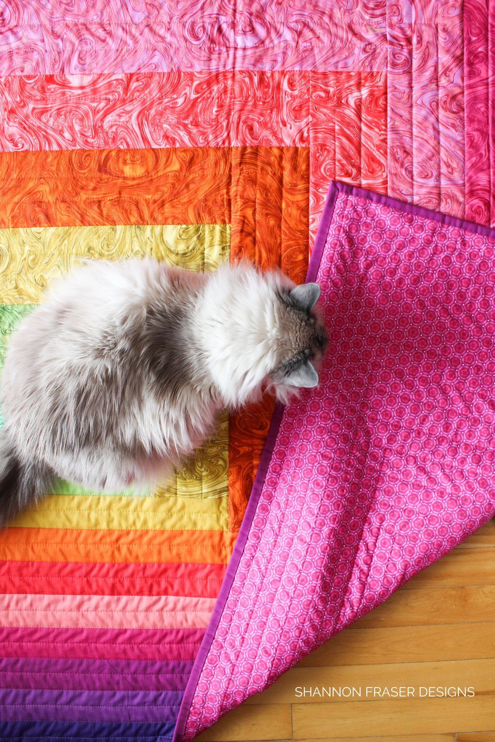 White ragdoll (Pips) on the Reverberance quilt - modern log cabin | How to safely remove pet hair from your quilts | Shannon Fraser Designs #logcabinquilt