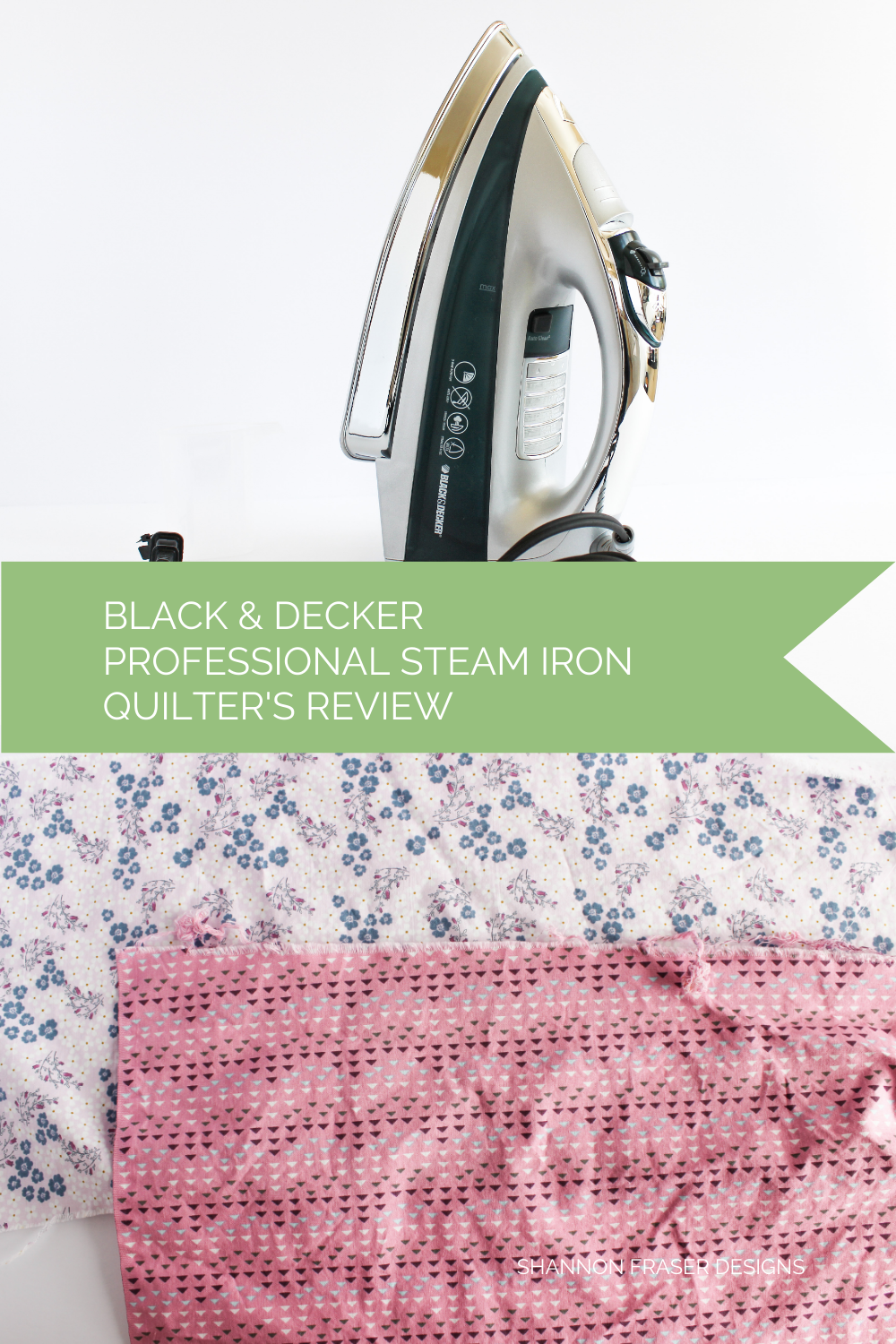 Black and Decker Professional Steam Iron with 2 fat quarters post laundered and pre-ironed