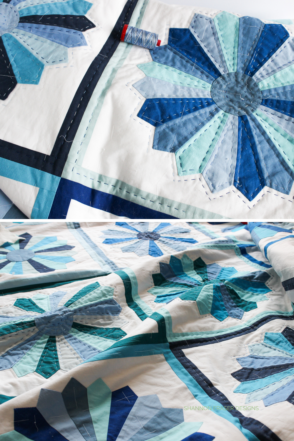 Blue Dresden Quilt being hand quilted | 2016 New Quilt Bloggers Blog Hop | Shannon Fraser Designs