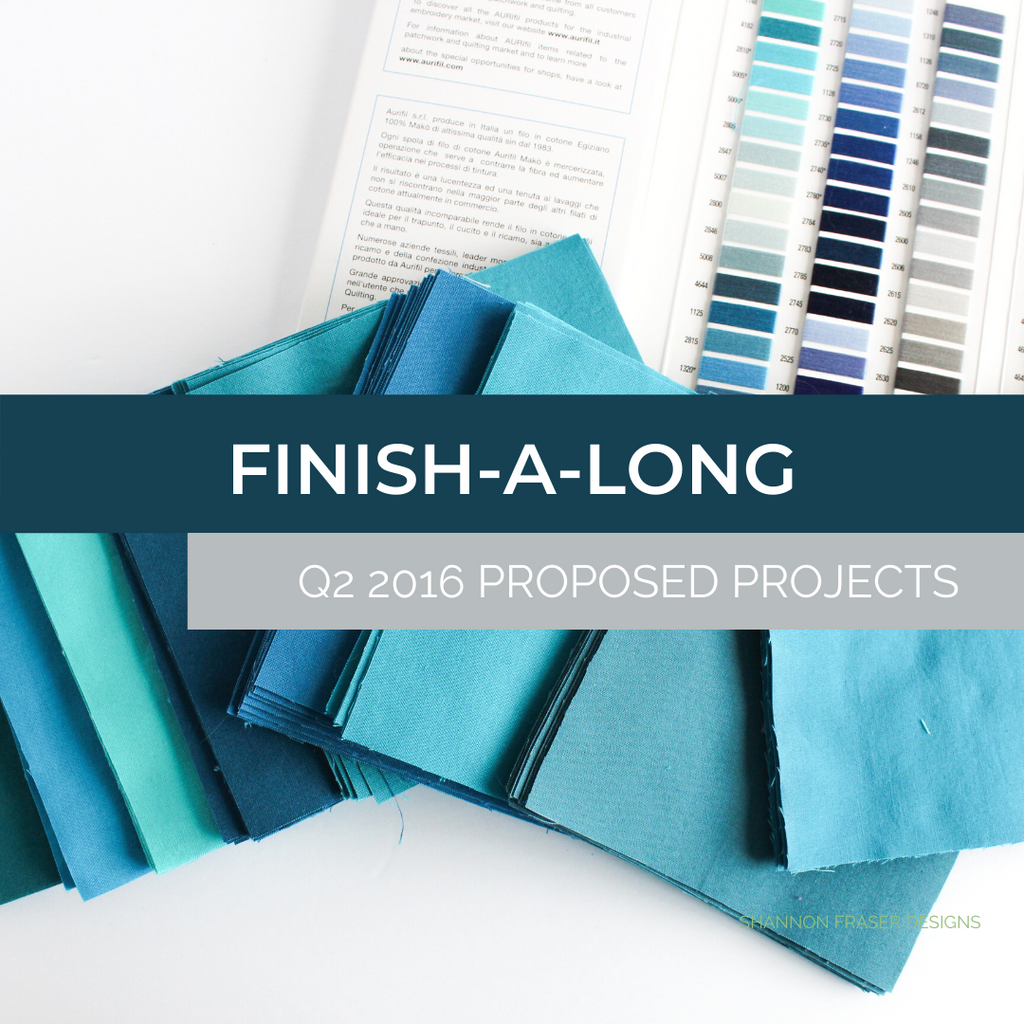 Blue Odyssey quilt fabric squares with Aurifil Thread color card | Q2 Finish-A-Long 2016 Projects | Shannon Fraser Designs