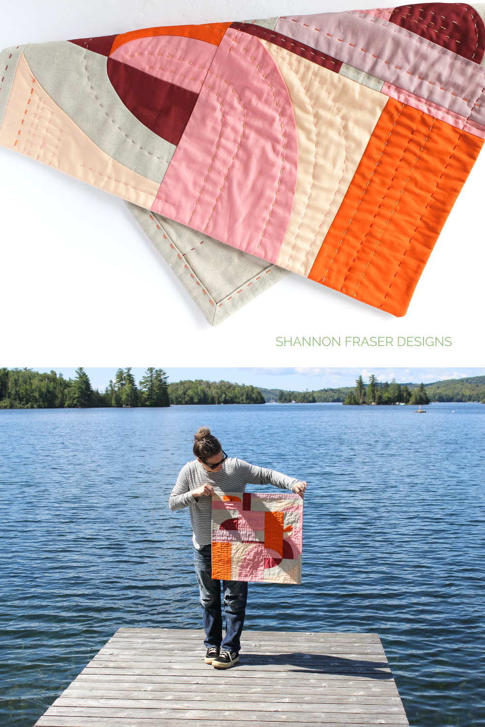 Cloud Surfing improv quilted wall hanging entirely hand quilted. Shannon holding the art quilt in the summer wild in front of a lake | Quilts I completed in 2020 | Shannon Fraser Designs #quiltsinthewild