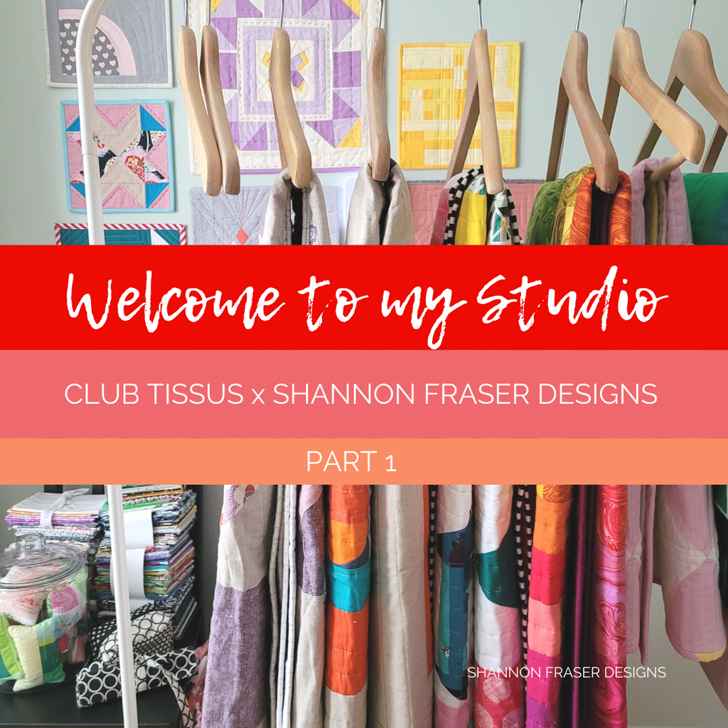 Shannon's Sewing Room featuring colorful quilts hanging on the rack + mini quilts featured on the wall | Club Tissus x Shannon Fraser Designs Part 1