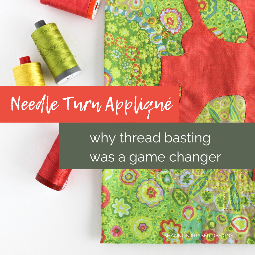 Modern coral Needle Turn Appliqué wall hanging machine quilted with 12wt Aurifil Thread | Why thread basting was a game changer | Shannon Fraser Designs #needleturnappliqué