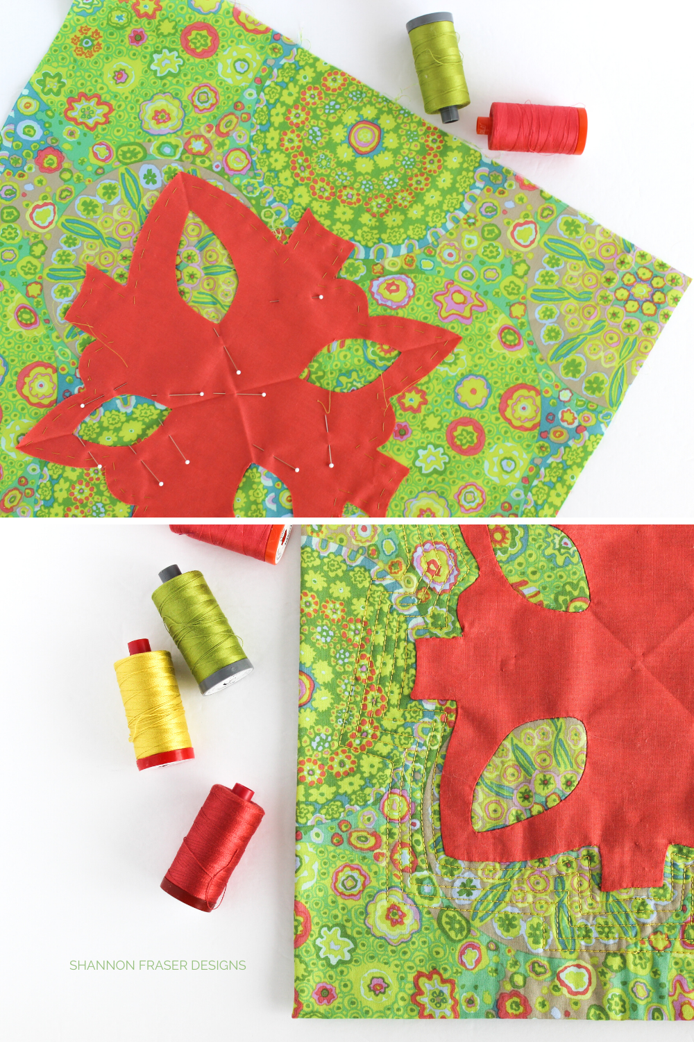 Why thread basting before needle turn appliqué was a game changer! Shannon Fraser Designs #needleturnappliqué