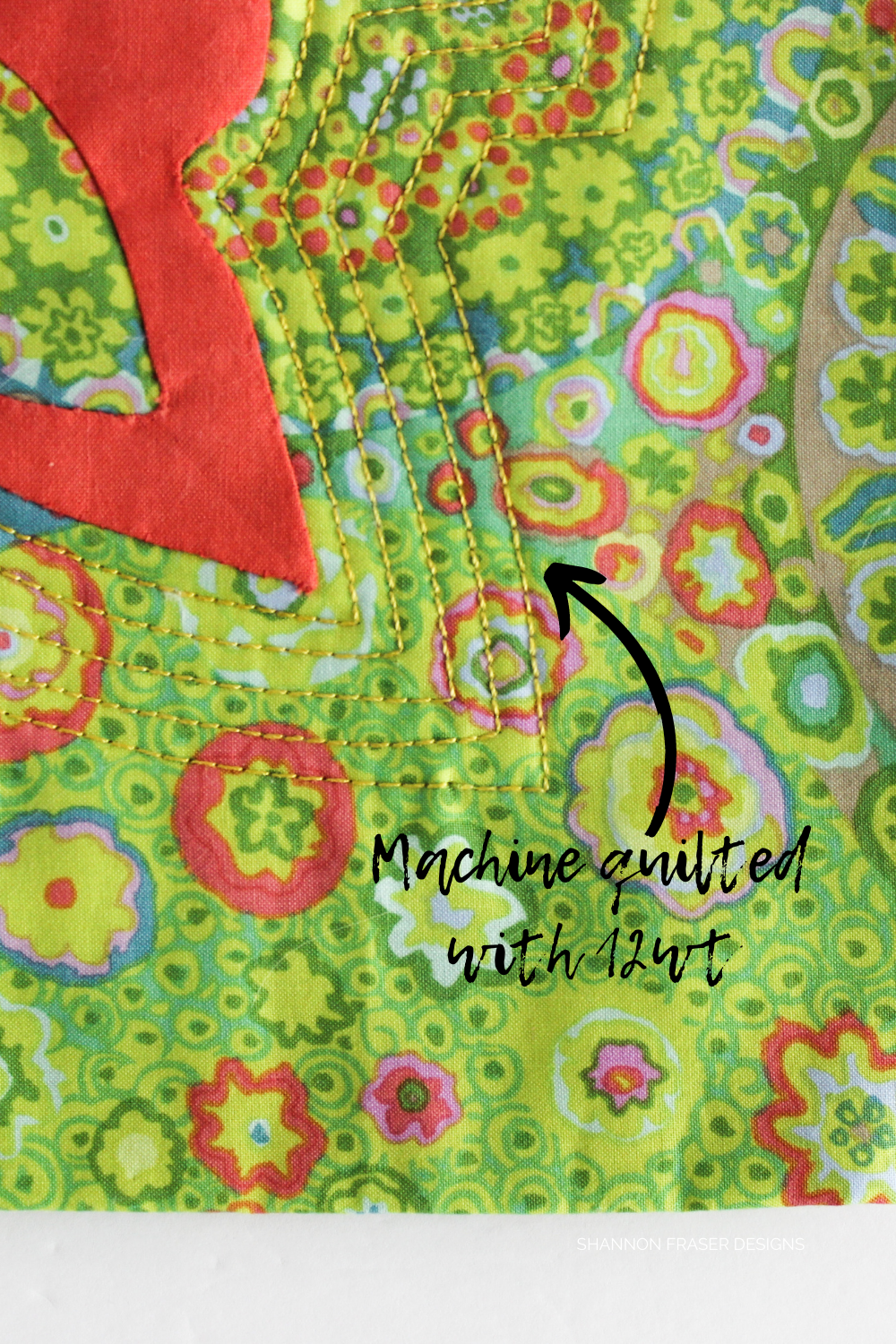 Machine quilting details on the coral needle turn appliqué wall hanging featuring 12wt machine quilting #modernwallart