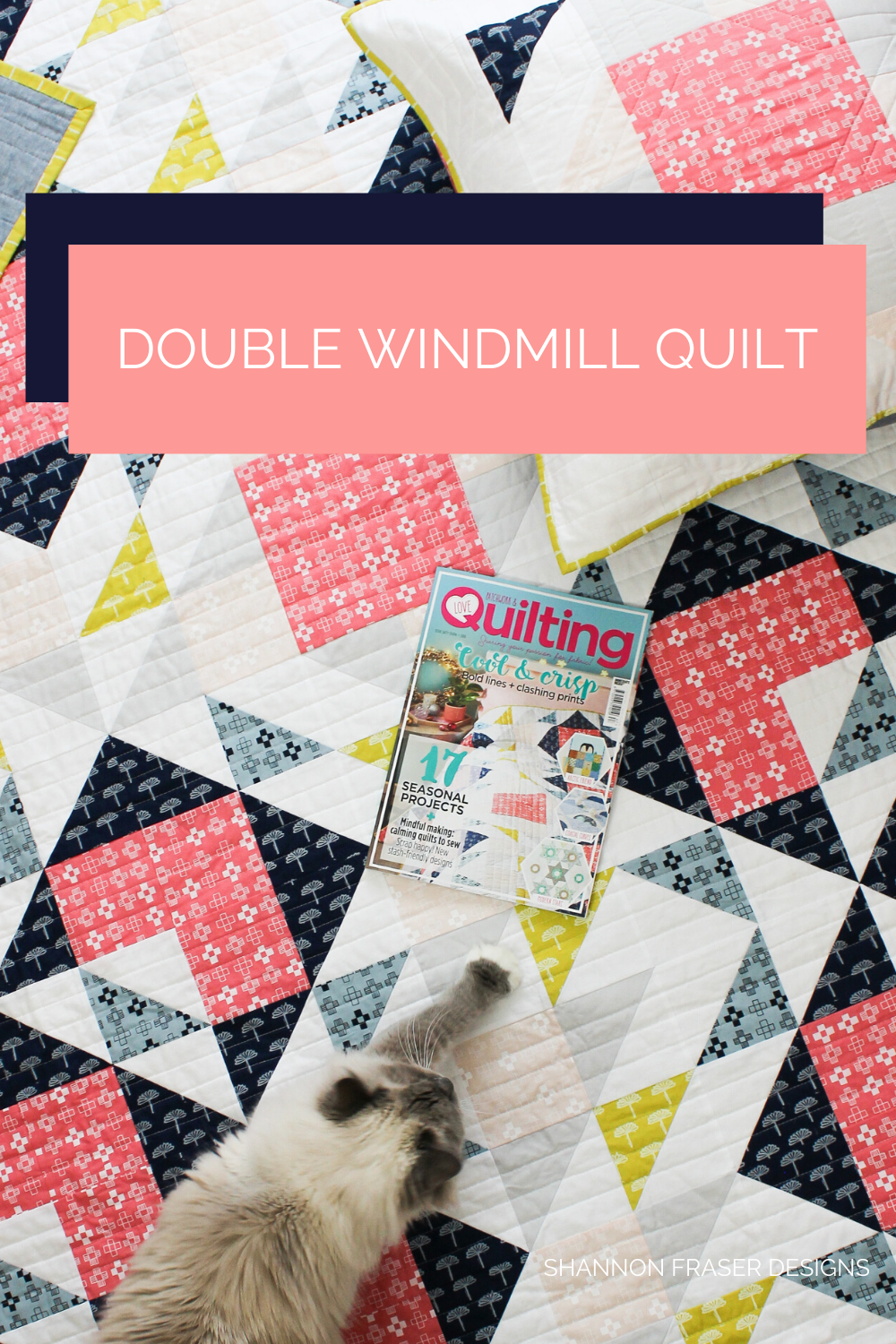Pips stretching on top of Double Windmill quilt  in Blueberry Park Fabrics | Shannon Fraser Designs