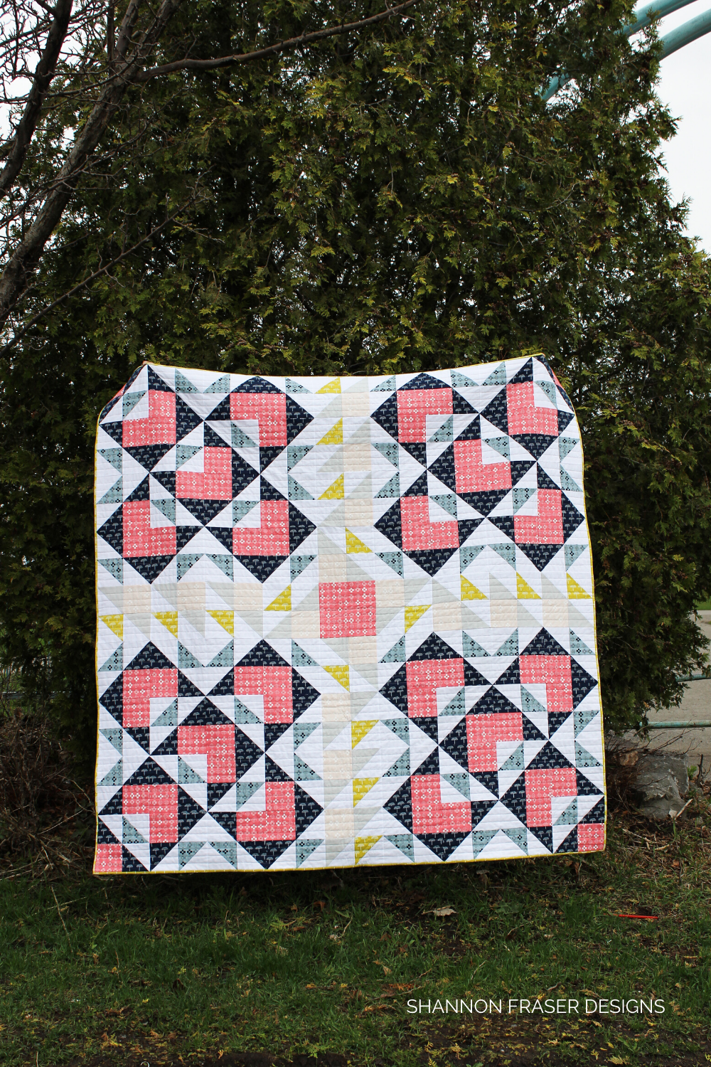 Double Windmill quilt featuring Blueberry Park fabrics by Karen Lewis Textiles out in the wild | Shannon Fraser Designs