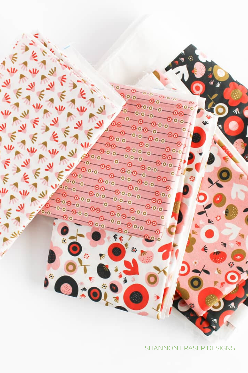 Pink, cream and black floral fabric designed by Oak Print Design and featured in the Ecliptic quilt | Ecliptic Quilt featured in Love Patchwork and Quilting Magazine | Shannon Fraser Designs #fabric #spoonflower