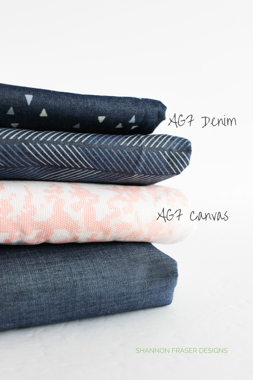 Stack of Art Gallery Fabric Denim + AGF Canvas in pink trees