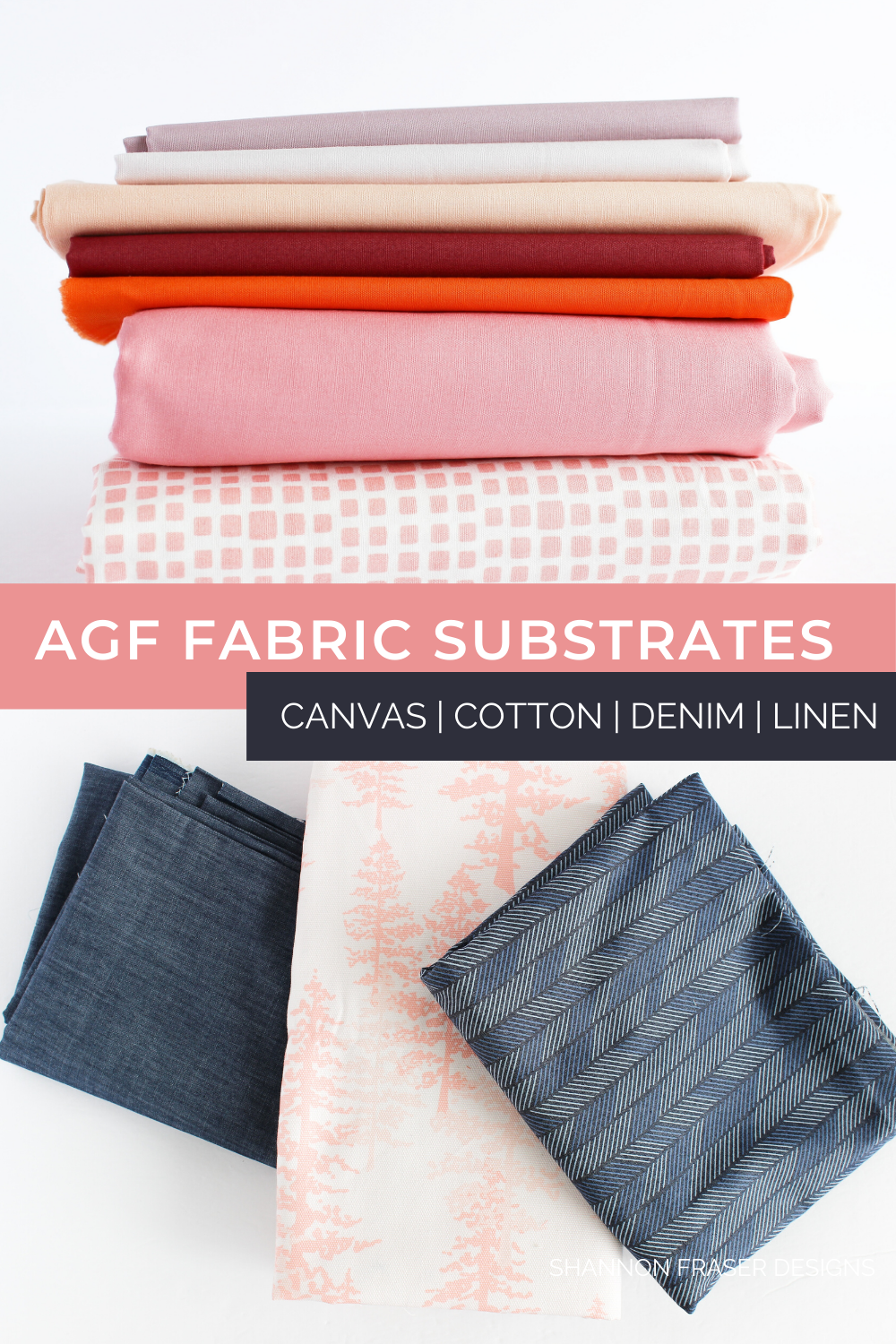 AGF PURE Solids in coral, peach, orange, burgundy and lavender with some AGF Denim and canvas