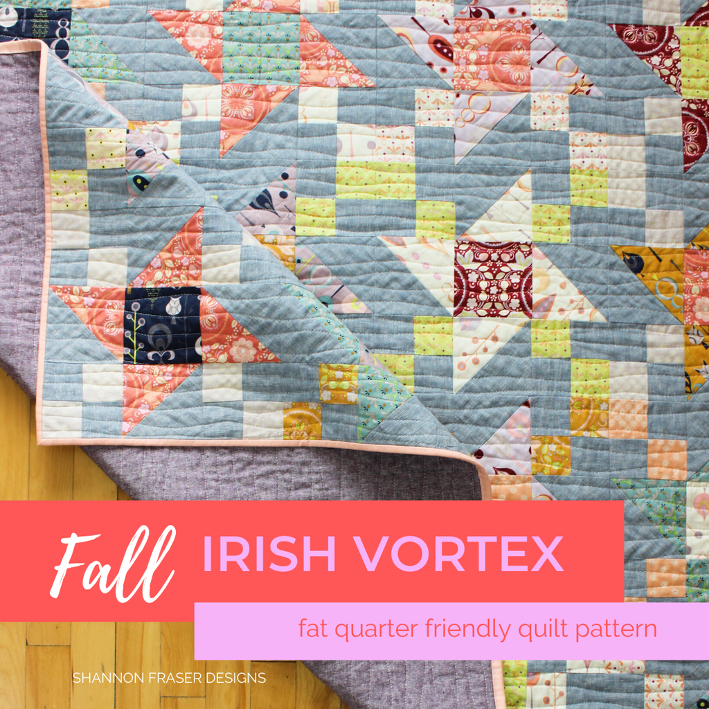 Autumn Irish Vortex quilt on the floor with the corner folded up | Fat quarter friendly pattern | Shannon Fraser Designs #fatquarterfriendly