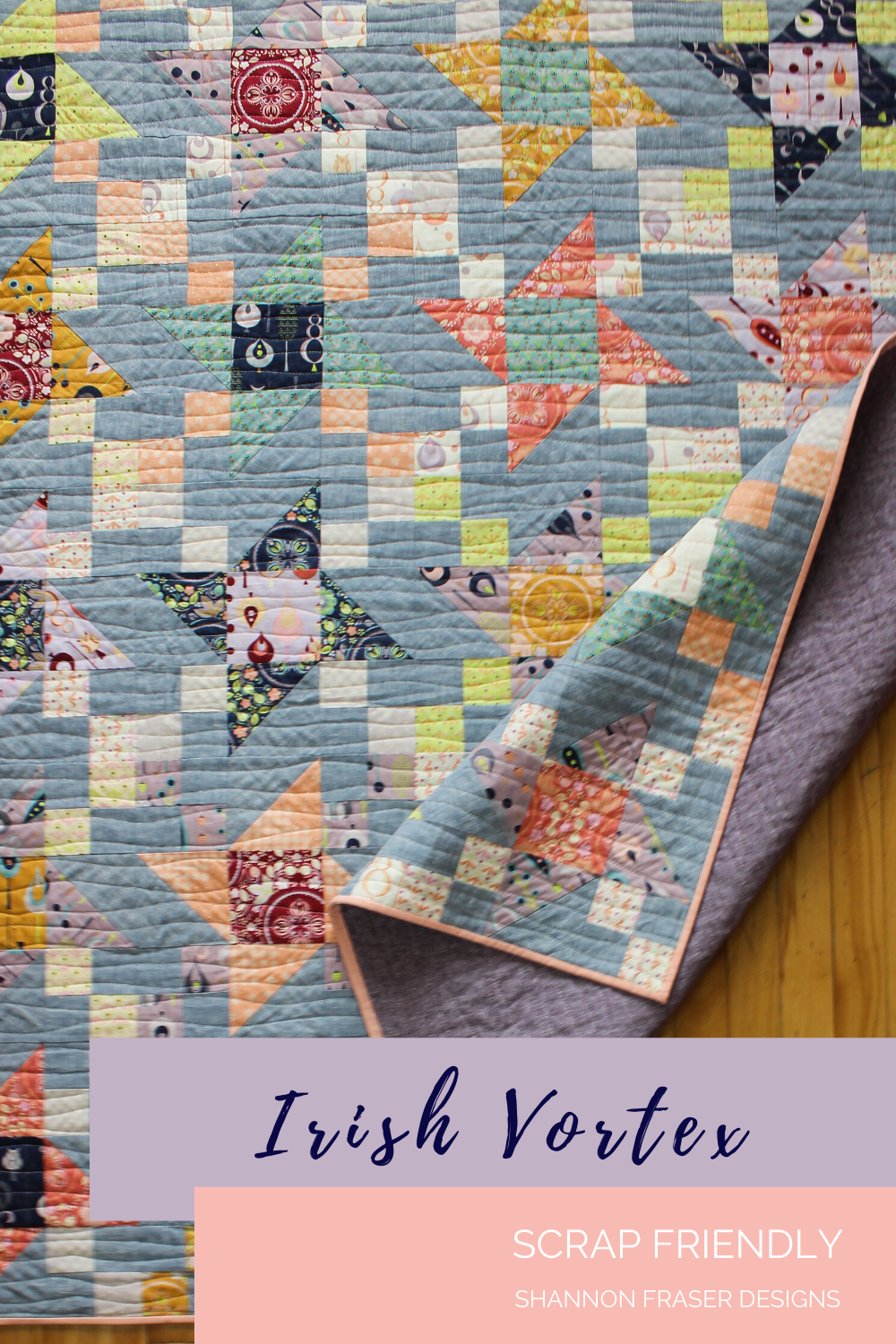 Autumn Irish Vortex quilt featuring fat quarter bundle and Brussels Washer line dyed linen | Irish Vortex quilt pattern | Shannon Fraser Designs #quilting