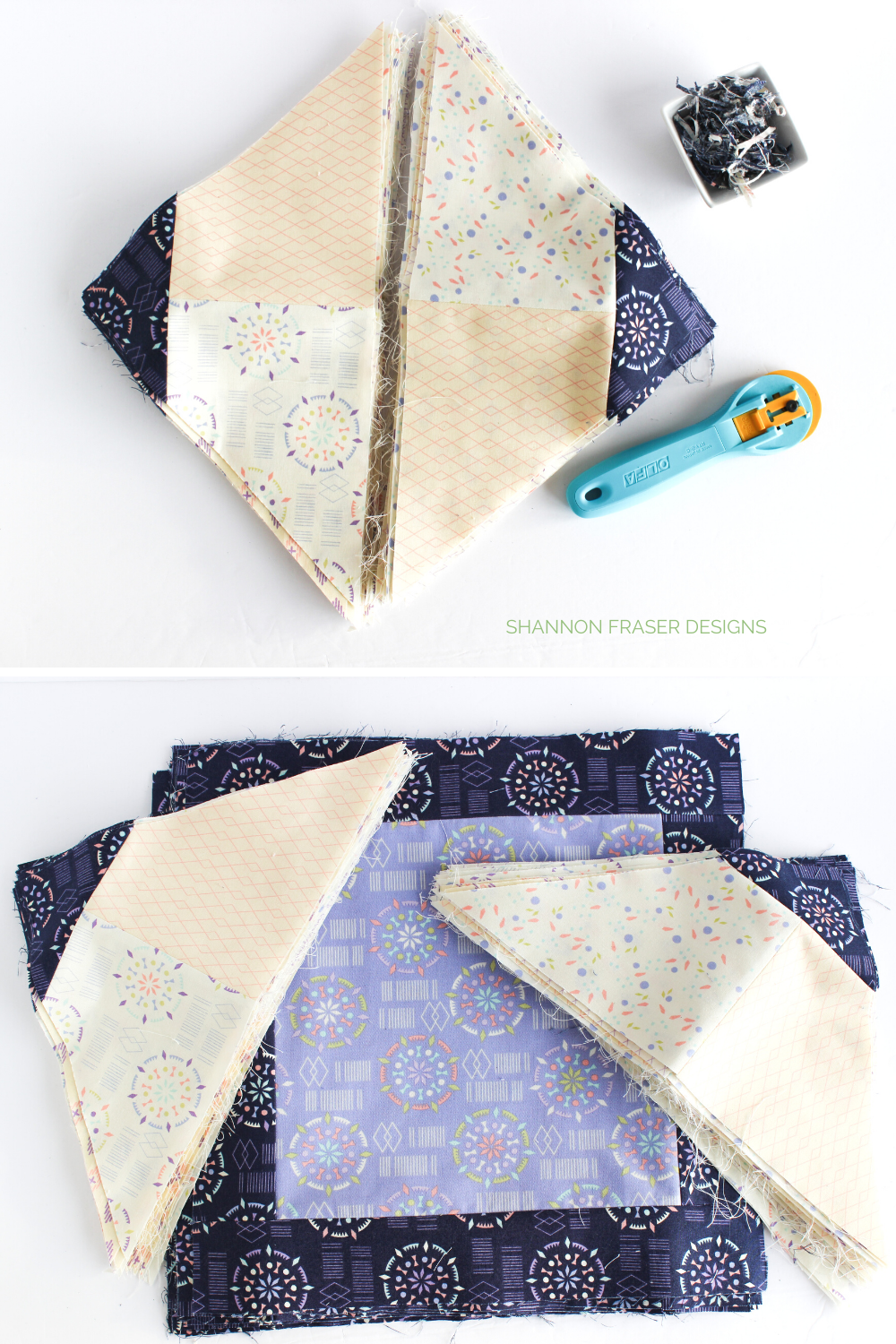 Triangles pieced and ready to attach to center Festival quilt squares | Kaleidoscope collection | Shannon Fraser Designs #piecing
