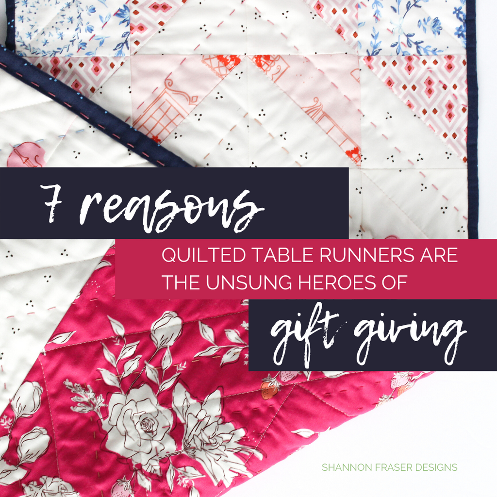 Modern Aztec quilted table runner featuring Sonata collection | 7 reasons why quilted table runners are the unsung heroes of gift giving | Shannon Fraser Designs #quiltedtablerunner