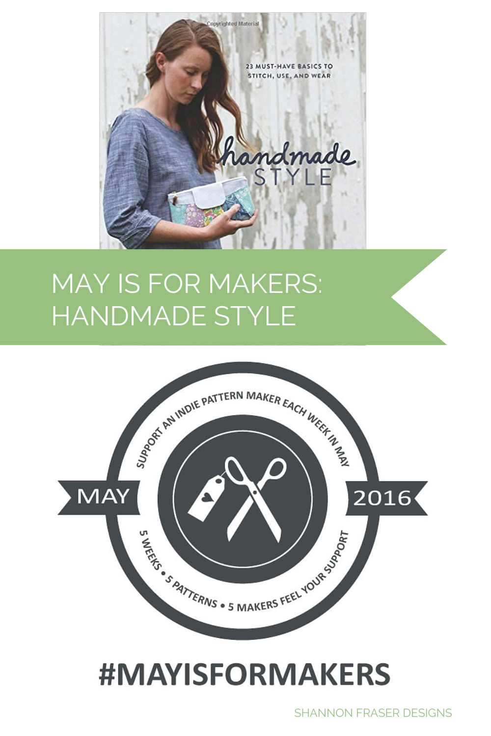 Handmade style book by noodle head shown with the May is for Makers logo
