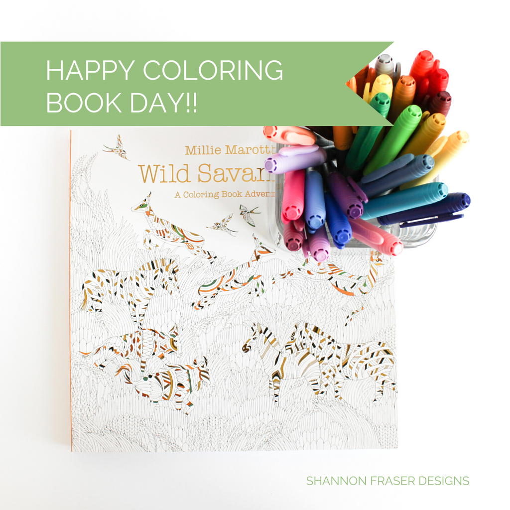 Wild Savannah coloring book with jar full of multi-colored BIC markers | Happy Coloring Book Day | Shannon Fraser Designs