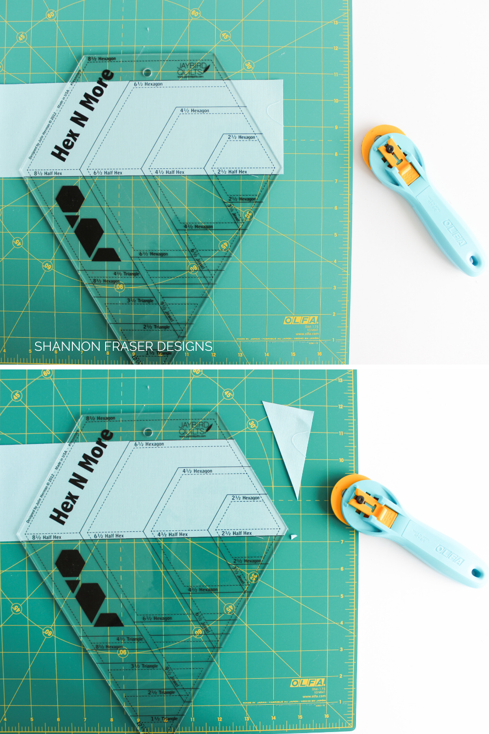 Cutting half hexies with the Hex 'n More Ruler | Tutorial | Shannon Fraser Designs