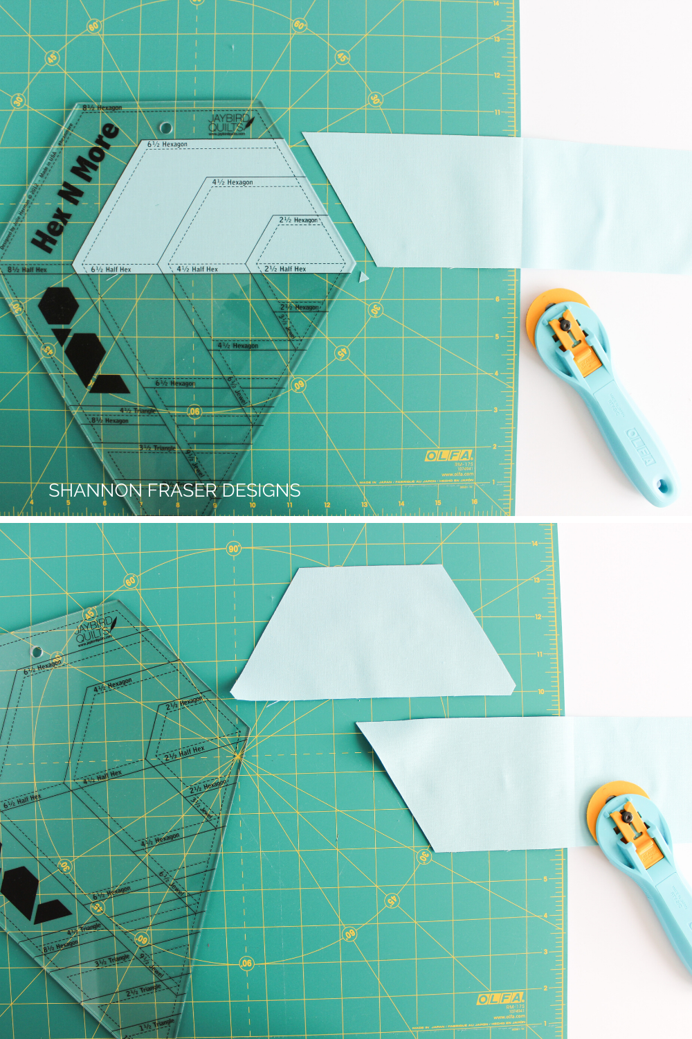 Making the final cuts on the half hexies using the Hex 'n More ruler