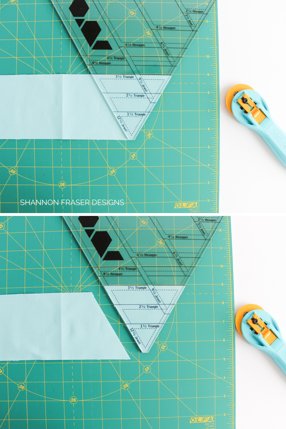 Cutting triangles using the Hex 'n More Ruler