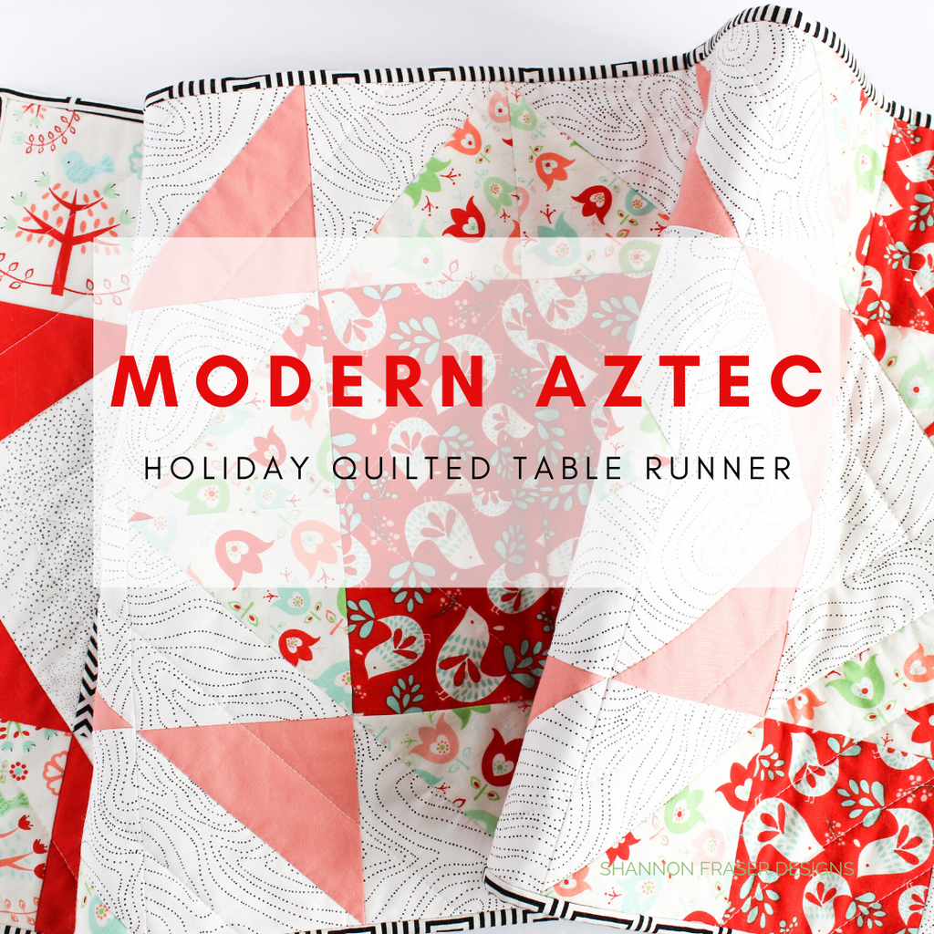 Modern Aztec quilted table runner featuring holiday prints for DIY Christmas table decor | Shannon Fraser Designs #holidaytabledecor
