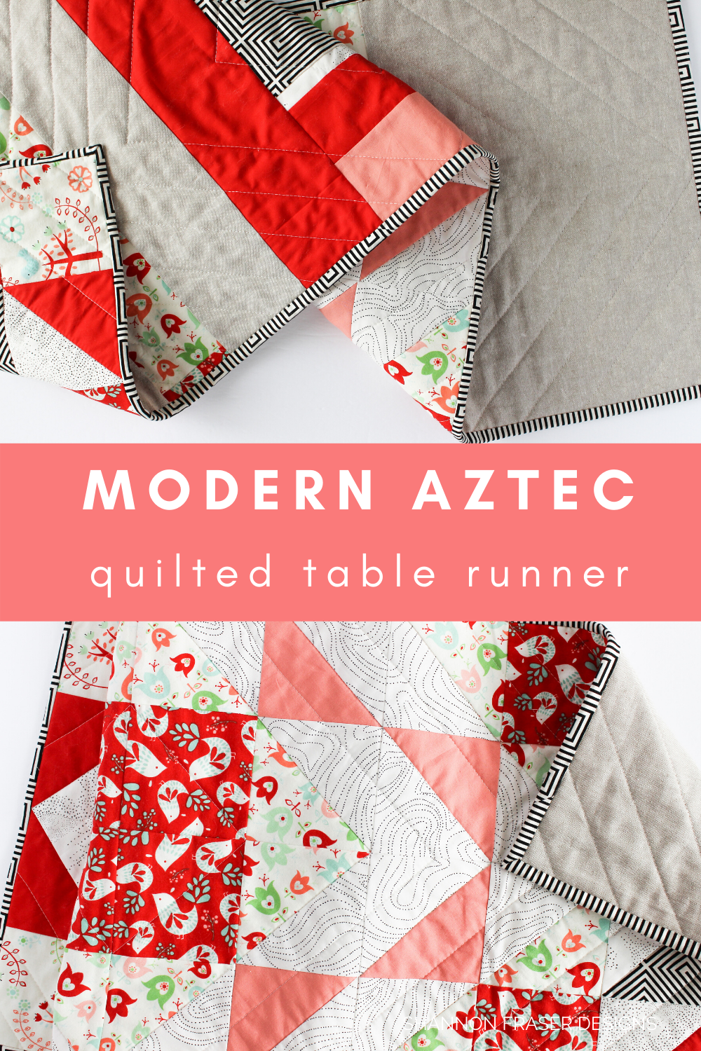 Modern Aztec quilted table runner Scandinavian holiday version in red, coral, essex linen and black and white | Shannon Fraser Designs #tablerunnerpattern