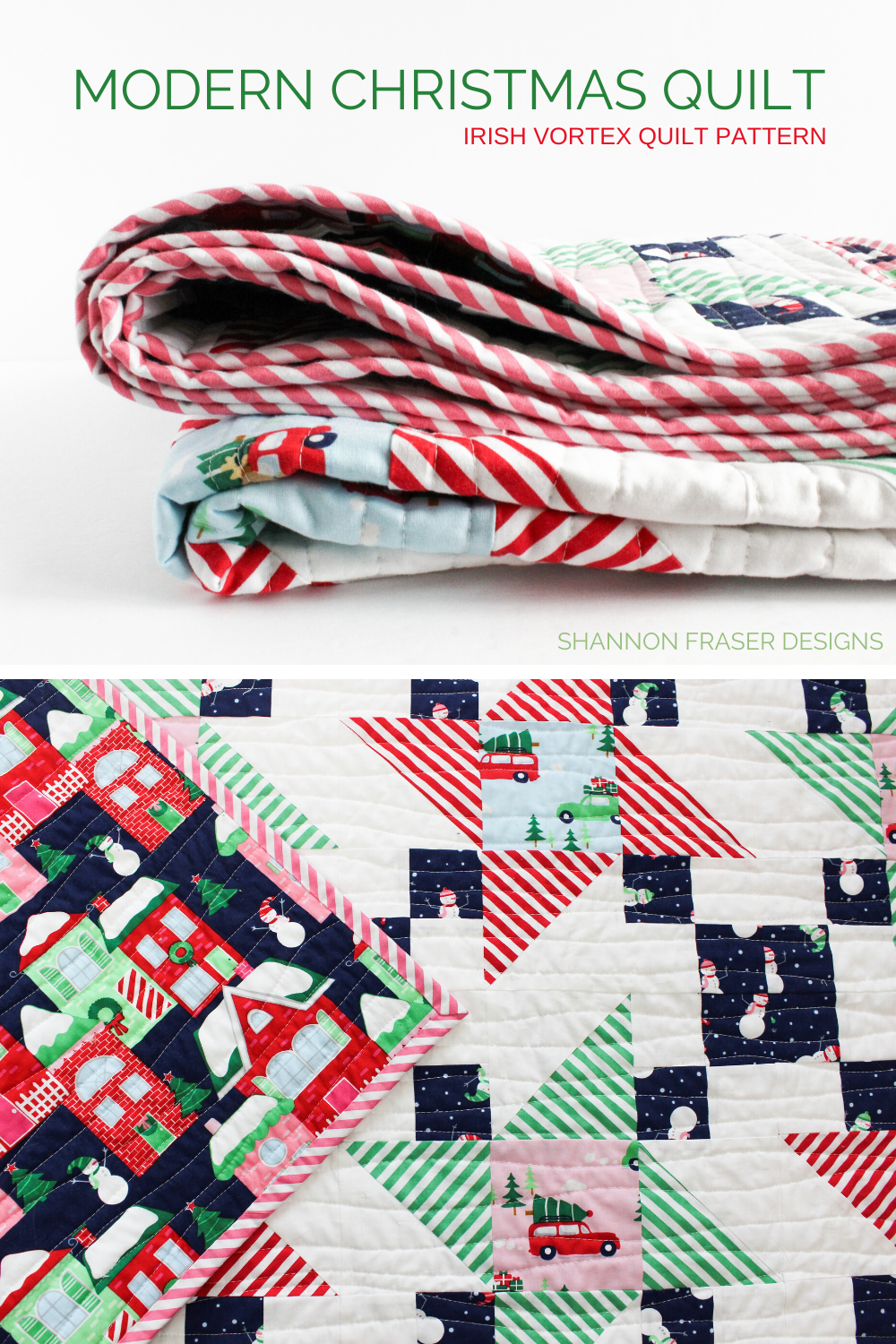 Modern Christmas Quilt in red, green, navy, pink and white | Home for the Holidays Irish Vortex quilt | Shannon Fraser Designs #holidayquilt