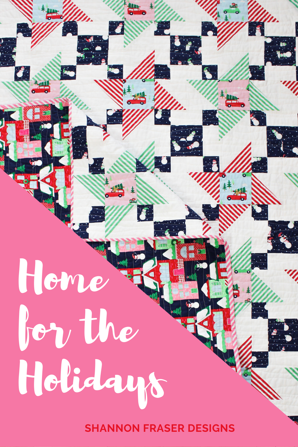 Home for the Holidays Irish Vortex quilt | Shannon Fraser Designs #christmas #holidayquilt