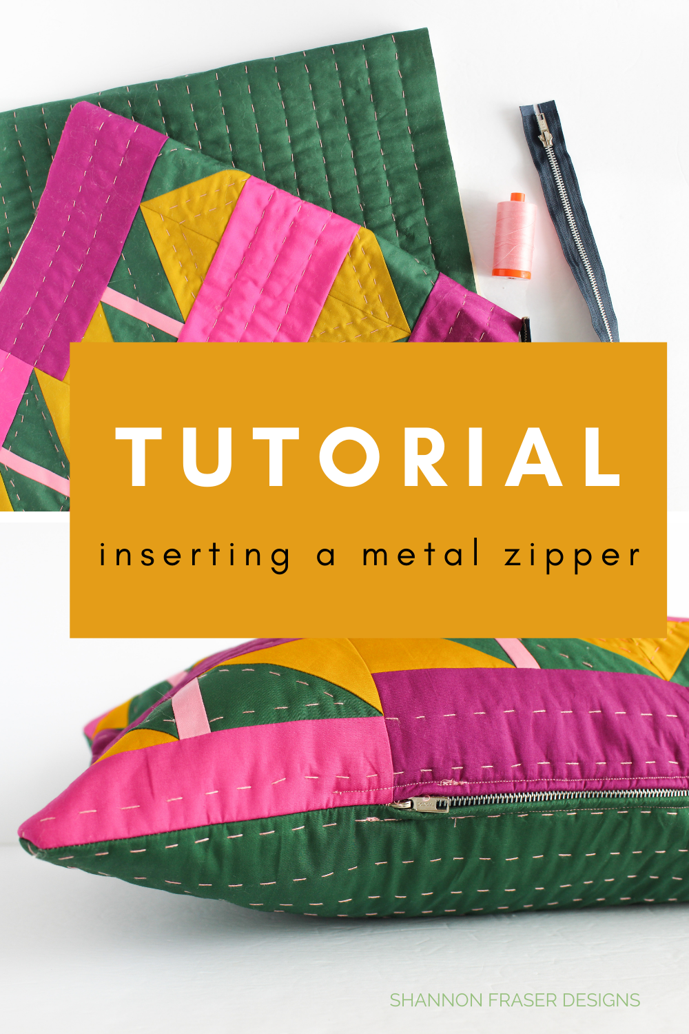 How to insert a metal zipper in the Shattered Star lumbar pillow | Sewing Tutorial | Shannon Fraser Designs #howtosew
