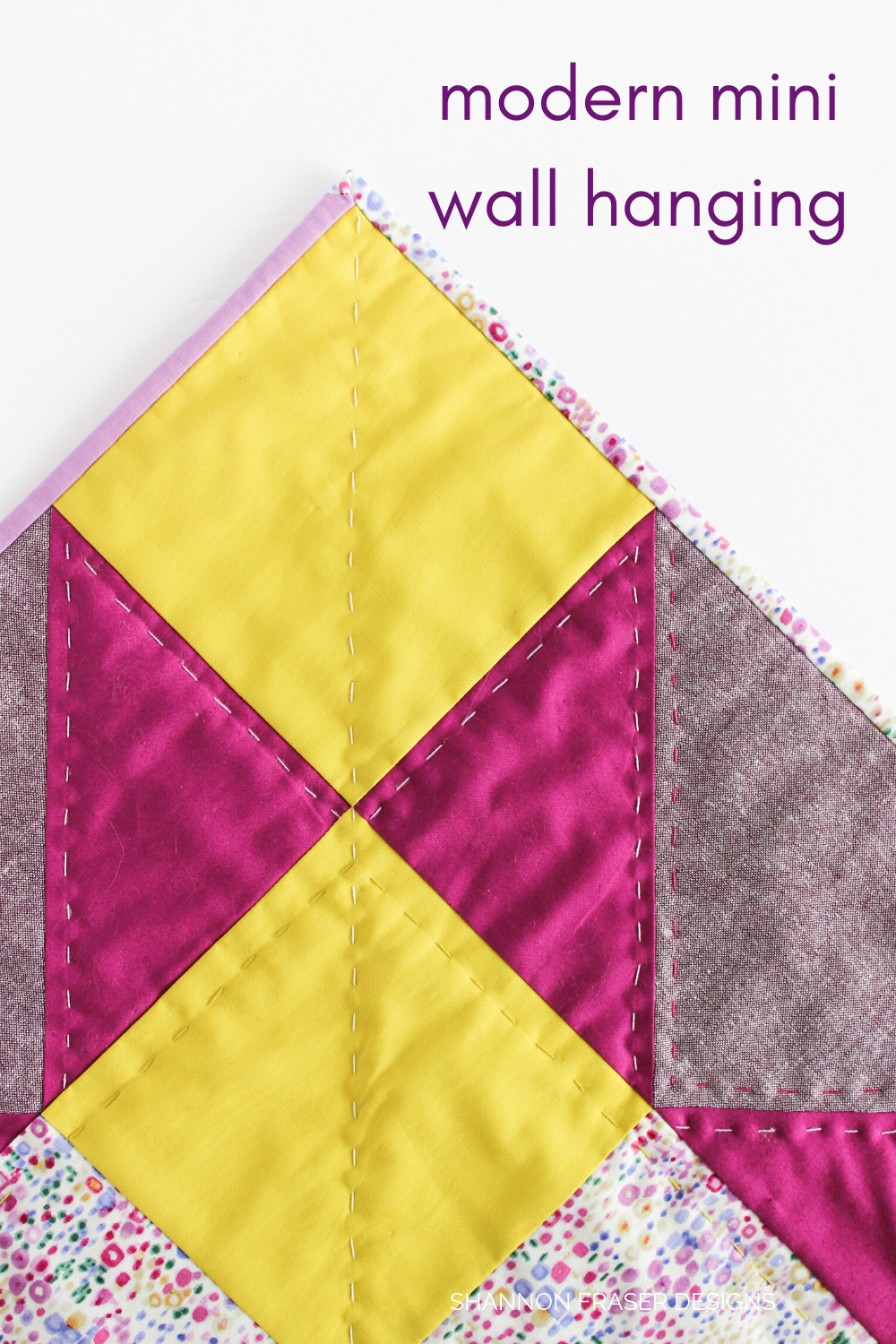 Hand quilting detail on the purple, wasabi and eggplant Indian Star quilted mini wall hanging | Quilt Big Book Tour | Shannon Fraser Designs #handquilting
