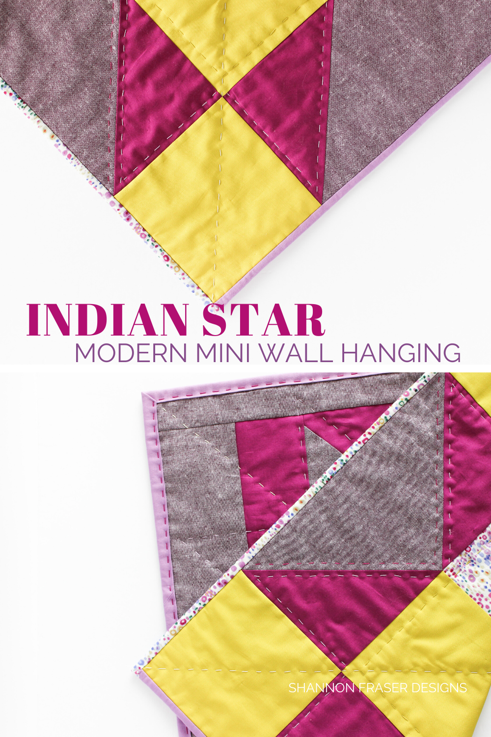 Hand quilting detail on the wasabi and purple Indian Star mini quilted wall hanging | Quilt Big Book Tour | Shannon Fraser Designs #handquilted
