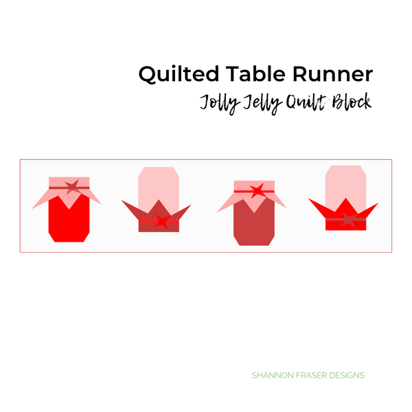 You can easily piece 4 Jolly Jelly quilt blocks together to make an adorable and cozy quilted table runner | Jolly Jelly foundation paper pieced quilt block pattern | Shannon Fraser Designs #quiltedtablerunner