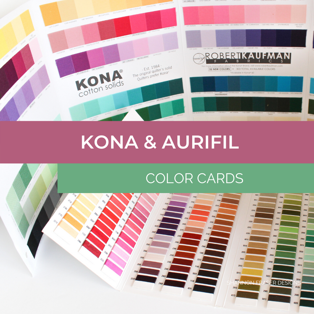Aurifil Thread & Kona Fabric color cards | Shannon Fraser Designs