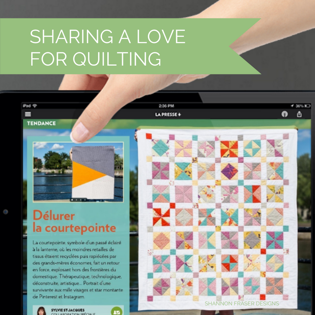 A Study in Half Square Triangles Quilt featured on the cover of the LaPresse article on quilting | Shannon Fraser Designs